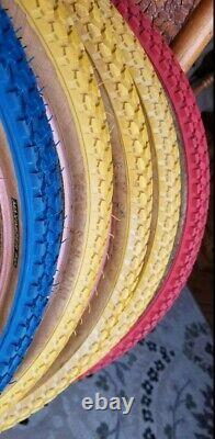 Team Schwinn Maximizer Tires BMX Yellow Blue 20 × 1.75 Extremely Rare