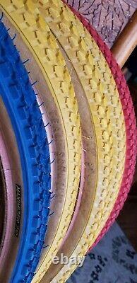 Team Schwinn Maximizer Tires BMX Yellow Blue Red 20 × 1.75 Extremely Rare