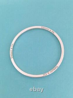 Tiffany & Co Silver & Blue Enamel Stripe Bangle Bracelet EXTREMELY RARE