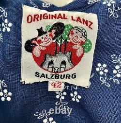 Vintage 1930s Original Lanz Salzburg Blue Floral Print Dress-extremely Rare-xs