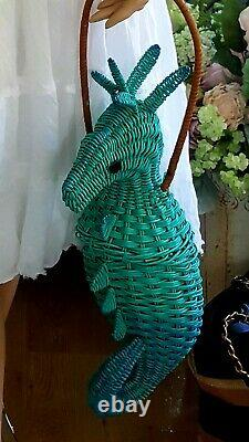 Vintage 1950s Wicker Animal Novelty purse Seahorse Extremely Rare
