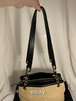 Vintage Chanel Raffia And Navy Leather Bag Extremely Rare