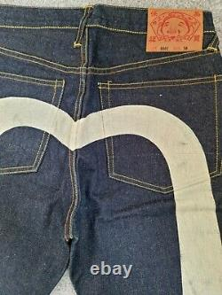 Vintage EVISU Big Logo Jeans W30 X L32 Lot 0001 Extremely Rare