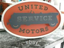 Vintage Extremely Rare Nos United Motors Servicelighted Counter/hanging Sign