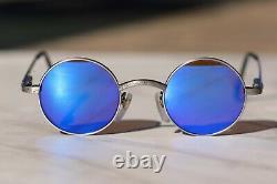 Vintage RVO 1104/044 blue mirror, etched gunmetal sunglasses, Extremely Rare