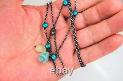 Vintage Retired Pandora Blue Pearl & Chalcedony Oxidized Lariat Extremely Rare