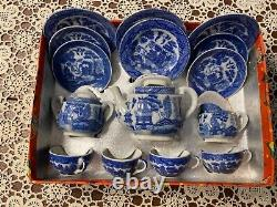 Vintage antique salesman sample blue Willow tea set EXTREMELY RARE
