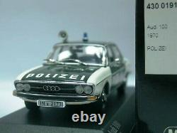 WOW EXTREMELY RARE Audi 100 C1 1.9L I4 Saloon 1969 Polizei Ingol 143 Minichamps