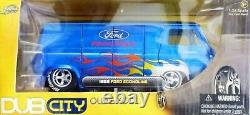 WOW EXTREMELY RARE Ford Econoline Van'Ford Racing' Flames 1965 Blue 124 Jada