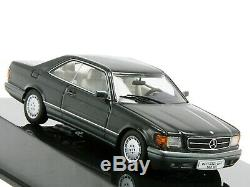 WOW EXTREMELY RARE Mercedes W126 500 SEC Coupe Blue Black 143 Auto Art-560-SE