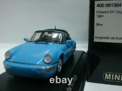 WOW EXTREMELY RARE Porsche 964 911 Targa 3.6 1991 R Blue 143 Minichamps-Spark