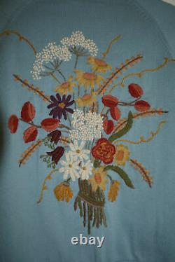 XS Extremely Rare Anthropologie Embroidered Autumn Bouquet Sweater Cardigan